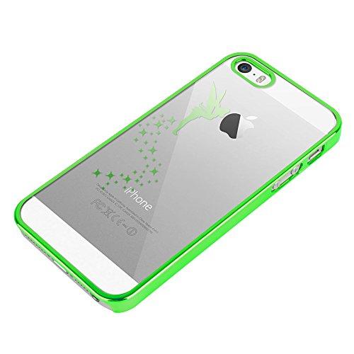Apple iPhone 5 / 5s Handyhülle / Schutzhülle inkl. Displayschutzfolie im Design : die kleine Fee Gold die kleine Fee Grün+Touchstift