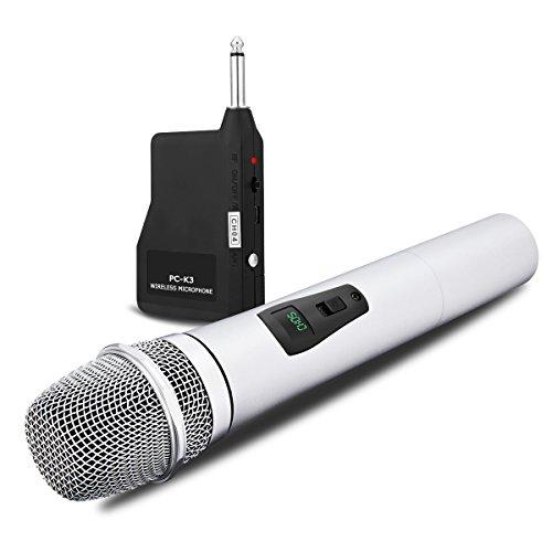 NASUM Microphone Professionnel Portable sans fil Rechargeable PC-K3 avec récepteur de 6,35 mm Conception multi-canaux pour Karaoké, Haut-parleurs PA, Amplificateur, DJ, Fête, Église, Mariage