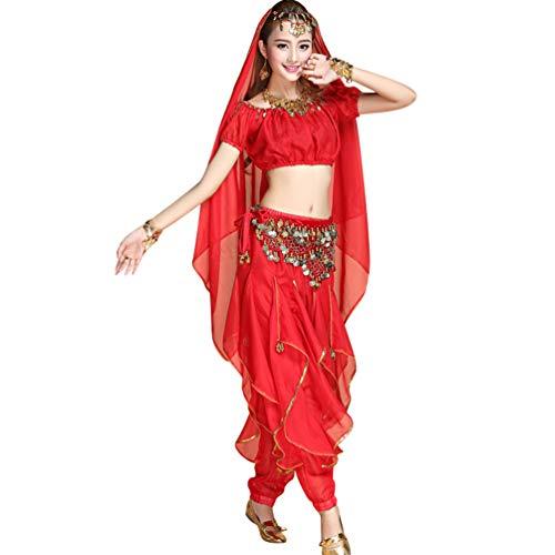 TianBin Bauchtanz Kostüme für Damen, Professionelle Tänzerin Tanzkostüm, Haremshose und Kurzarm Top (Rot#5, One Size)