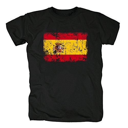 TShirt-People España Vintage Bandera Camiseta para Hombre 4XL Negro