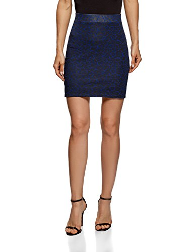 oodji Ultra Damen Jersey-Rock Basic, Blau, DE 32/EU 34/XXS (Jersey-elasthan Jeans)
