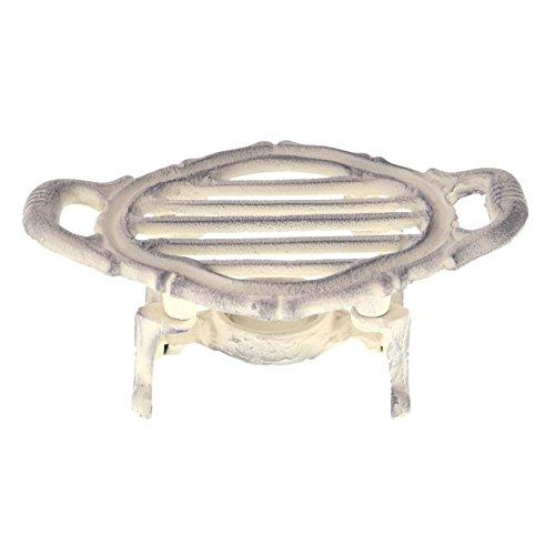 Antikes Elfenbein Finish (French Kitchen Collection Speisewärmer, oval, Gusseisen, Antik Elfenbein, 19x 12x 8cm)