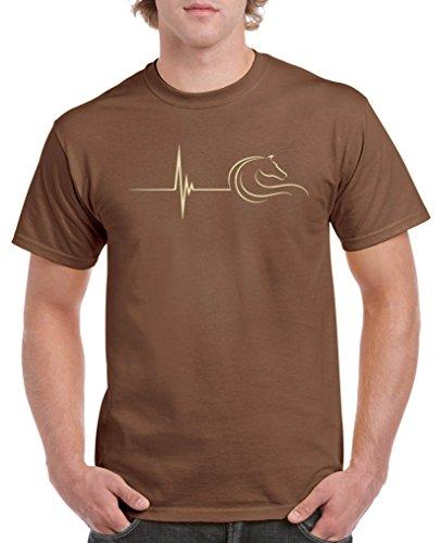 Comedy Shirts - Pulsschlag Pferd - Herren T-Shirt - Braun/Beige Gr. XXL