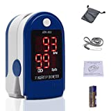 Cozyroom Finger Pulse Oximeter,SpO2 Sensor Heart Rate Monitors,Portable Blood Oxygen Saturation Monitor with LED Display, Oximeter Fit for Family Health Care,Lanyard and Batteries,Blue