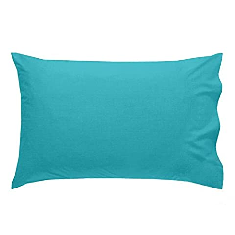 Just Contempo Plain Percale Pillow Case, 50 x 75 cm - Teal Blue, Pack of 2