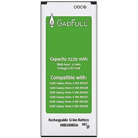 GadFull® Bateria pour Samsung Galaxy Note 4   correspond à l'EB-BN910BBE Lithium-Ionen-batterie d'origine du modèle SM-N910F   SM-N9100   SM-N910U   SM-N910C   SM-N910H   SM-N910A   batterie de téléphone portable pour votre Smartphone   Parfait comme batterie de
