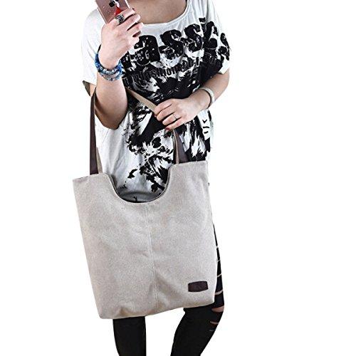 Fletion Beiläufig Canvas-Handtasche Tragbare Mode Mädchen Tasche Dame Einkaufstaschen Frauen Tote Schultertasche Hohe Kapazität Handtasche Beige