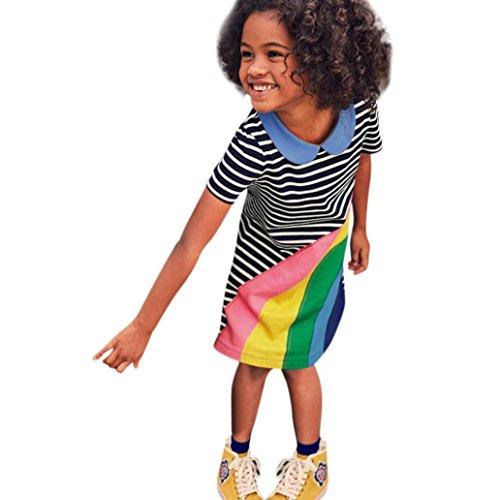 Gestreiftes Kleid Kleinkind Kinder, DoraMe Baby Mädchen Regenbogen Kleid Outfit Kleidung Rundhals Sommerkleid Kurze ärmel Lässig Kleid für 1-6 Jahr (Blau, 18 Monate) (Gestreiftes Kleid Set)