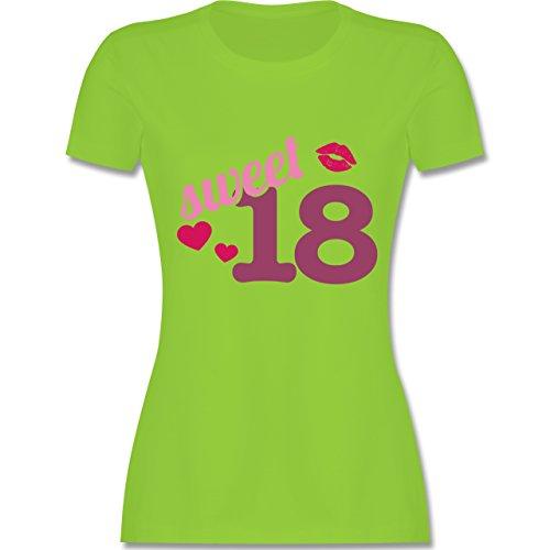 Geburtstag - Sweet 18 - Damen T-Shirt Rundhals Hellgrün