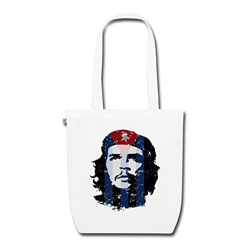 Spreadshirt Che Guevara Kubanische Flagge Used Look Bio-Stoffbeutel Weiß