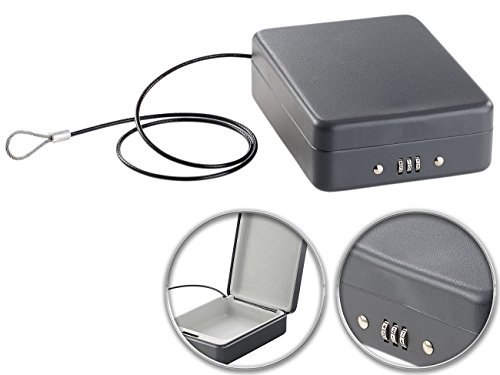 Xcase Minisafe: Mini-Stahl-Safe für Reise & Auto, Zahlenschloss, Sicherungskabel, 1 l (Autotresor) (Mit Schloss Mini-tresor)