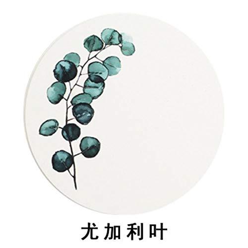 Eukalyptus-home-kerze (OLDK Einzigartige Marmor Rosa Gold Keramik Tischset Untersetzer Porzellan Matten Pads Tischdekoration Zubehör Küche Werkzeug Geschenk, Eukalyptus blätter * 2 stücke)
