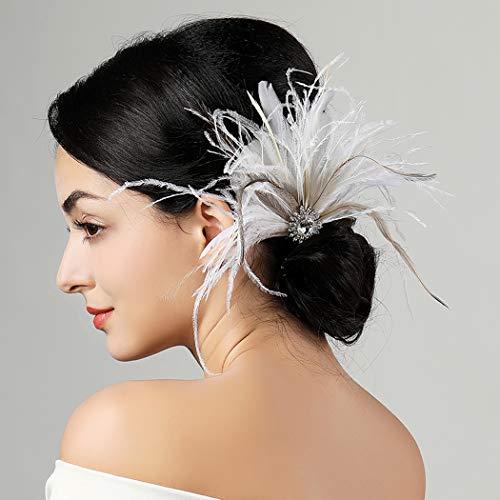 Halten Kostüm Rennen - Swittyun Haarband im Stil der 20er-Jahre, Vintage-Stil, Feder-Haarspange, Cocktail-Party, Haarschmuck für Frauen und Mädchen
