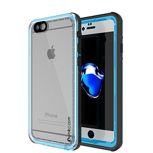 punkcase iPhone 7/7 s wasserdichten Fall Crystal Serie Schutz-Ip68 decken w / befestigt Screen Protector staubdicht stoßfest Snowproof Ultra Slim Fit für Iphone 7 s/7 Light Blue Screen Protector Crystal Blue