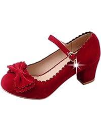 COOLCEPT Mujer Moda Correa de Tobillo Clasico Boca Baja Zapatos Mujer lindo Tacon Bombas Zapatos con Bowknot