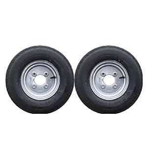 leisure MART Anhänger-Räder und -Felgen, mit 4-lagigem Reifen und 4-Zoll-Lochkreis, 400 x 8 Zoll, 1 Paar, Teilenummer LMX1596