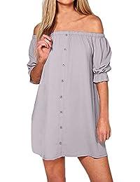 StyleDome Damen Schulterfrei Rückenfrei Kleid Kurzarm Button Down Oversized  Strand Lange Oberteile Minikleid f28b0f8717