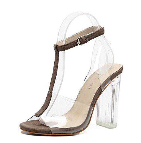 SHINIK Femmes Ankle Strap Pompes High Heelssandals Rome Mode Chaussures Crystal Chaussures Sandales Outdoor Brown