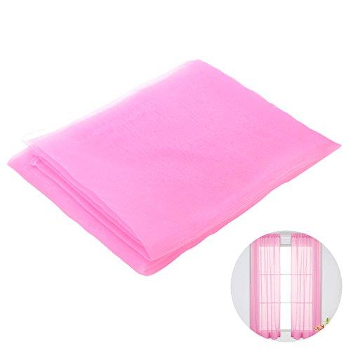 Winomo tenda voile trasparenti da finestra per casa tendaggio con stampa con passanti 100x200cm (rosa)