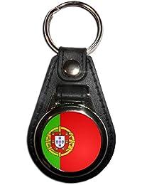 Portugal Flag - Cromo Medallón de imitación de cuero llavero