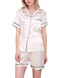 Dolamen Pijamas Camisón para mujer, Mujer Corto Camisones raso Satin Parejas Pijamas, lencería Collar