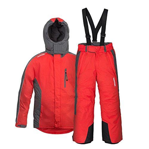 Kinder Skianzug anndora Gr. 164 Skijacke Rot Skihose Rot wasserabweisend