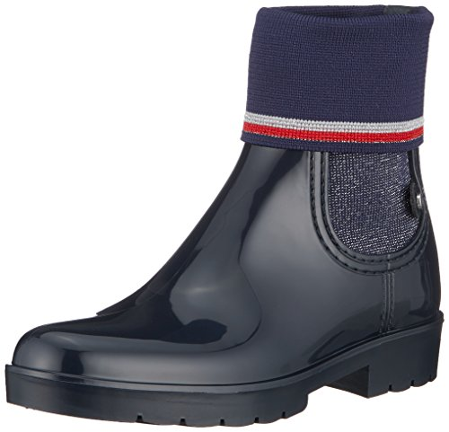 Tommy Hilfiger Damen Knitted Sock RAIN Boot Gummistiefel, Blau (Midnight 403), 40 EU