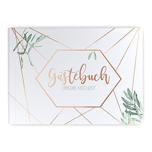 bigdaygraphix Gästebuch Hochzeit ohne Fragen Hochzeitsgästebuch weiße Seiten blanko Copper & Green Hardcover
