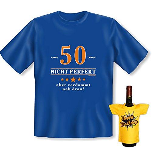 Geburtstags Set T-Shirt + Mini für die Flasche <->          über 50 Jahre          <->           ein kleines lustiges Geschenk Goodman Design®Royal-Blau Royal-Blau