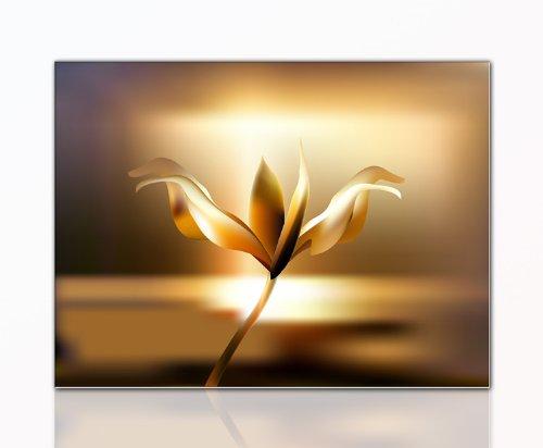 DEINEBILDER24 - Wandbild XXL Leuchtblume 60 x 80 cm auf Leinwand und Keilrahmen. Beste Qualität,...
