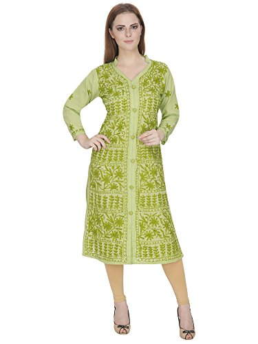 IndianKalakari.com Lucknowi Chikankari Embroidery Long Cotton Kurti (Large)