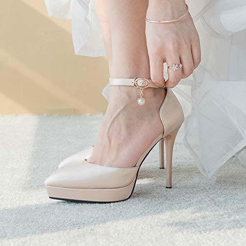 Yukun Schuhe mit hohen Absätzen Champagner 12 cm Super Hochhackige Satin Hochzeitsschuhe Kleine Rote Wasserdichte Plattform Brautschuhe, 36, ()