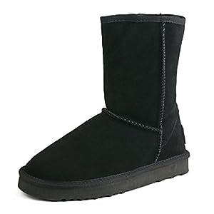 Shenduo Herren Wasserdicht Winterstiefel Schlupfstiefel Leder Boots D5625
