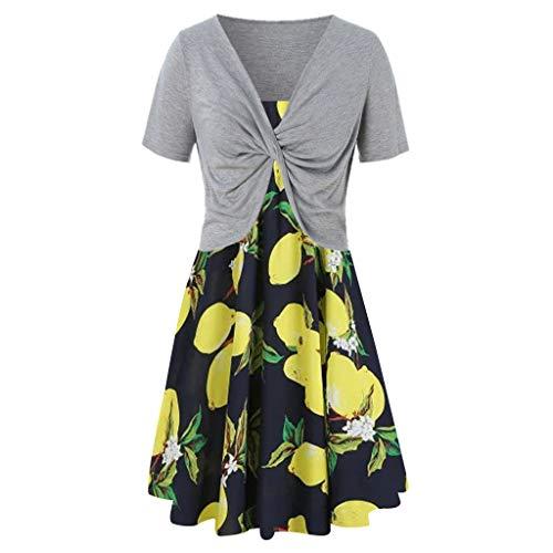 Fenverk Damen Kleiderset Zweiteilig Sommer Kurzarm Bluse Lose Patchwork Cut Out Tops T-Shirt Tunika Einfarbig Trachten-Kleid Dirndl(Grau-14,M)