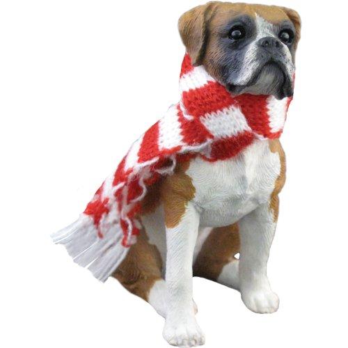 Sandicast Fawn Boxer mit Rot und Weiß Schal Weihnachten Ornament -