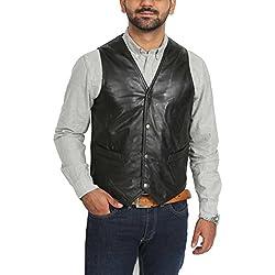 House Of Leather Chaleco de Cuero Real para Hombre Gilet Clásico de Estilo Tradicional Petrelli Negro (X-Large)