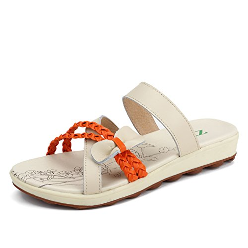 Tongs de beauté douce fond plat été/Chaussures en cuir souple/Chaussures à talon plat feuillet étudiant/Femmes de pantoufles B