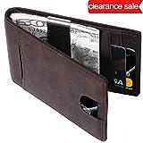 Portafoglio Uomo di Classe in Pelle Nera di Qualità con Protezione RFID/NFC 8 Tasche per Carte di Credito e Portamonete Pelle Wallet Classico e Slim (marrone)