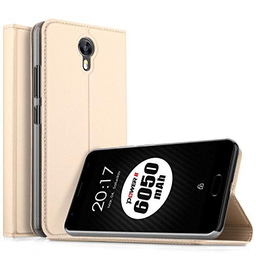 Ulefone Power 2 Hülle, KuGi Ulefone Power 2 Flip Bookstyle Kompletter Schutz Mit Magnetverschluss und Standfunktion Tasche Etui Cover Case Schutzhülle für Ulefone Power 2 Smartphone (Golden)