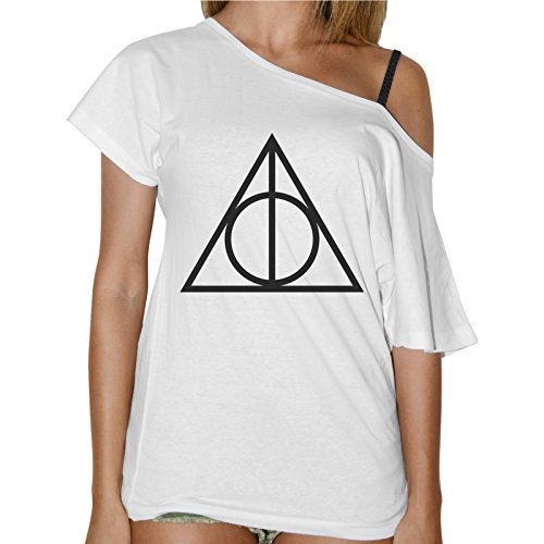 T-Shirt Donna Collo Barca Simbolo Deathly Hallows Harry Potter- Bianco
