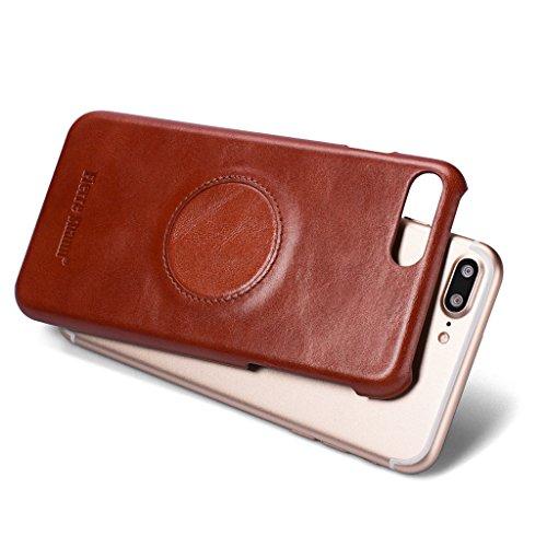 Ultra Dünn Echtem Leder Hülle für iPhone 7 Plus,Careynoce Luxus Handgefertigt Schutzhülle für Apple iPhone 7 Plus(5.5 Zoll) mit Karten Schlitz -- Rot M01