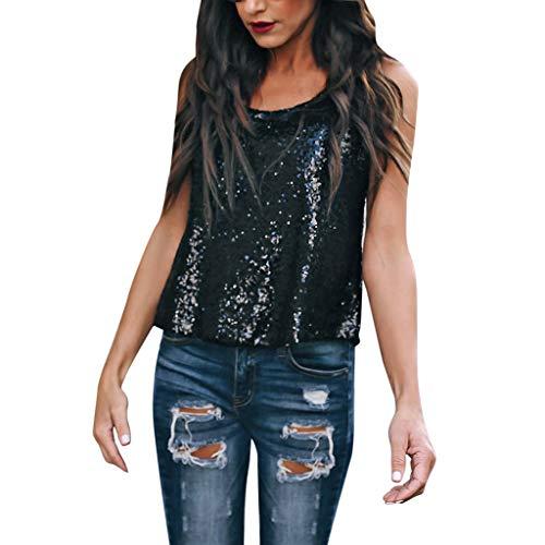 Ginli T-shirt, top e bluse,T-shirt senza maniche con scollo a V a maniche lunghe da donna con scollo a barchetta sexy con paillettes