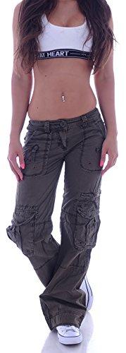 Damen Cargohose Stoffhose Cargo Hose Hüfthose Jeans XS 34 S 36 M 38 L 40 XL 42 XXL 44 (XXL 44, Khaki) (S 36, Braun)