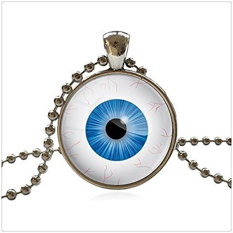 Fashion vetro collana dichiarazione perline catena a mano Cabochon Occhio di drago collana in argento e pendente per le donne gioielli - Mano Drago