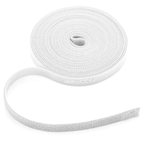 deleyCON 5m Klett Kabelbinder Klettband Klettbandrolle 10mm Breit Kabelmanagement Kabelorganizer Klettkabelbinder Klettverschluss zuschneidbar Weiß (Weiß Kabelbinder)