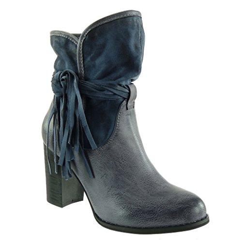 Angkorly - damen Schuhe Stiefeletten - Reitstiefel - Kavalier - bi-Material - Flexible - Fransen - Multi-Zaum - genarbtem Blockabsatz high heel 9.5 CM - Blau F2087 T 41 (Blaue Fransen-boots Frauen Für)