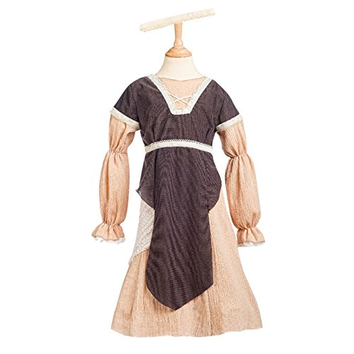 Mittelaltermaid Kostüm Kinder 2-tlg. Kleid mit Haarband für Mittelalterfeste und Karneval braun - 7/9 (Renaissance Girl Kostüme Kind)