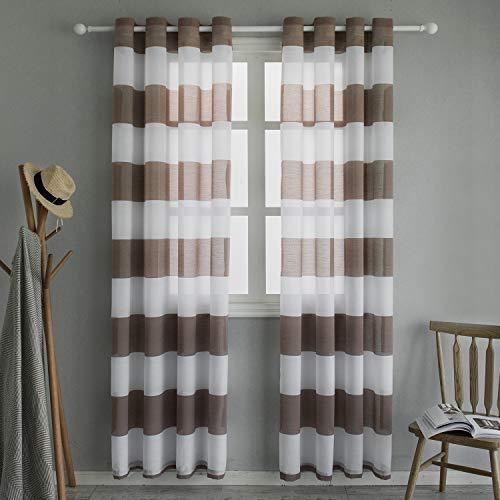 Top finel voile tende trasparenti per soggiorno pannelli finestra con anello a strisce per camera da letto, 140x260cm, 2 pannelli, marrone
