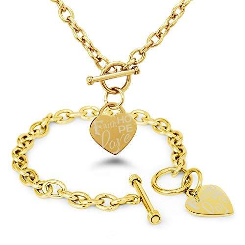 Tioneer Vergoldet Edelstahl Faith (Glauben) Love (Liebe) Hope (Hoffnung) Gravierte Herz Charme, Armband Halskette Set
