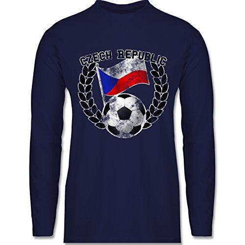 EM 2016 - Frankreich - Czech Republic Flagge & Fußball Vintage - Longsleeve / langärmeliges T-Shirt für Herren Navy Blau